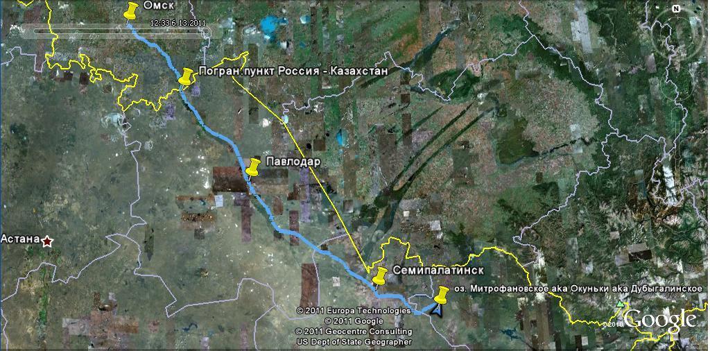 Трек на карте Google Earth.